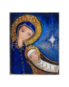 Nativity Mary with Baby Jesus - Mixed Media Original Painting  8 x 10 inches - By FLOR LARIOS. $100.00, via Etsy.