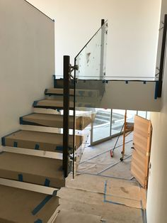 Glass Railing for Stairs Going in at Wrightwood.