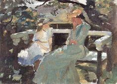 anna+ancher+paintings | Anna Ancher (Danish painter, 1859-1935) On the Garden Bench Anna Helga ...