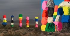 Situated just south of Las Vegas in the middle of the desert stands seven stacks of brightly colored boulders— forms which appear to be in a line or cluster depending on how you view their arrangement. From one side the structures line up neatly in a row, while from the other they seem to be pos