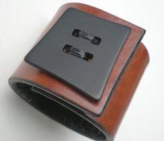 Vogue Button Love  Mod Coffee Brown Leather Cuff by urbanboutique