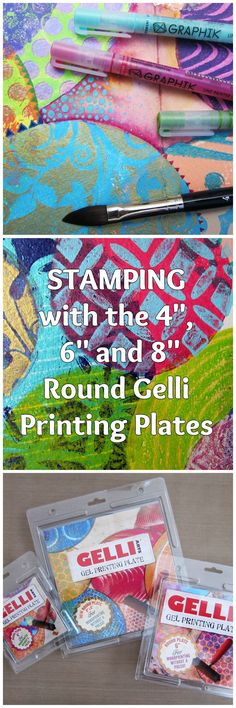 "Gelli™ Stamping: Layered Circles WOW! Gelli plates in three ROUND sizes!! Triple the fun for stamping circle prints! Watch this fast-paced video showing the 4"", 6"" and 8"" round plates in action — on an art journal spread with layered, overlapping circle stamped images!"
