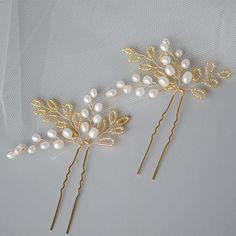 Natural Pearls in Gold Pin Set Bridal Headpiece, Wedding Accessories, Bride, Bridesmaids