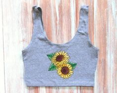 Sunflowers Crop Top-Yoga Crop Tank-Workout by ZellyaDesigns