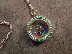 Glass-Round-Locket-Blue-Stones-Floating-Charms-Black-Anchor-Gold-Plated-Necklace #anchor #locket #necklace