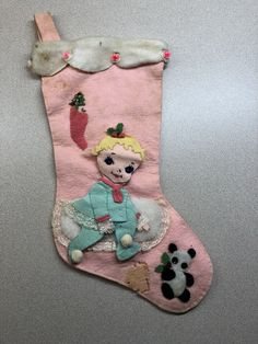 Baby Christmas Stocking, Vintage Christmas Stockings, Vintage Santas, Christmas Decorations, Christmas Ornaments, Holiday Decor, Stocking Ideas, Tree Skirts, Seasons