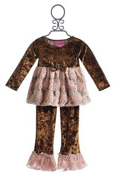 Haute Baby Mocha Swing Set for Little Girls in Velvet