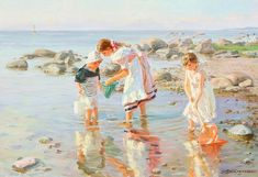 (Russia) by Alexander Averin ). oil on canvas. Paintings I Love, Beautiful Paintings, Beach Paintings, Thomas Kincaid, Mists Of Avalon, Beach Art, Strand, Vintage Art, Oil On Canvas