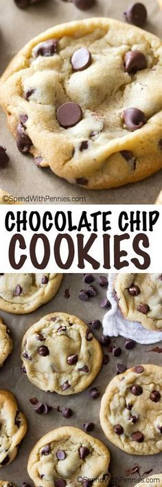 These really are the perfect chocolate chip cookies. They have been carefully crafted to be perfectly soft, perfectly chewy, and just all around perfectly delectable. You'll never need another cookie (Baking Cookies Cinnamon) Easy Desserts, Delicious Desserts, Dessert Recipes, Yummy Food, Delicious Chocolate, Homemade Chocolate Chip Cookies, Perfect Chocolate Chip Cookies, Chocolate Chips, White Chocolate