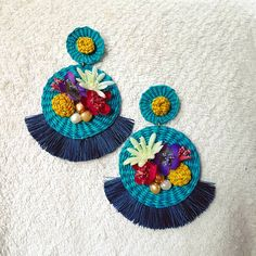 Online shopping from a great selection at Clothing, Shoes & Jewelry Store. Fabric Earrings, Jewelry Design Earrings, Diy Earrings, Cute Jewelry, Earrings Handmade, Crochet Earrings, Mexican Embroidery, Beaded Embroidery, Textile Jewelry