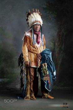 Colorized a vintage photo of American Indian Porcupine from the US Library of Congress