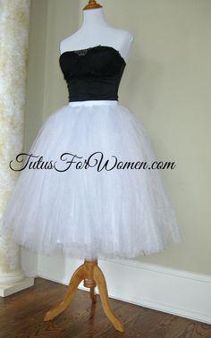 Tutu Women Romantic White tulle skirt adult by PetticoatCrinoline