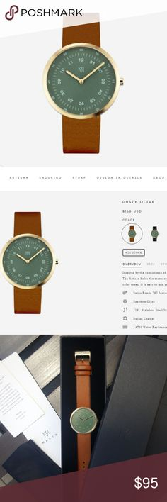 Dusty Olive Maven Watch (unisex) Inspired by the coexistence of modern architecture and dynamic natural landscape, The Artisan holds the essence of nature within its modern construction. With natural color tones, it is easy to mix and match with the fashion pieces in your wardrobe. Swiss Ronda 762 Movement Sapphire Glass 316L Stainless Steel Made 3ATM Water Resistance Diameter  40mm Thickness  9mm Strap  20mm Italian Leather  BRAND NEW!!! Comes with everything (look at 4th photo) Worn just…