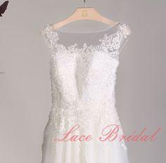 High Quality Lace Wedding dress, Bateau Neck Bridal gown, Simple Wedding gown, A-line wedding dress