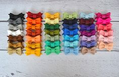 GroopDealz | Mini Wool Felt Bow Clips for Women, Girls and Babies!