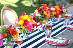 black and white stripe table runner bold flowers