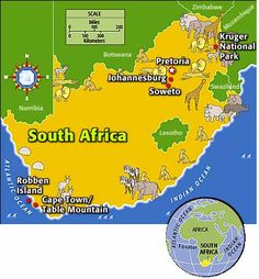 Africa: South Africa Factfile list-of-amazingness South Africa Facts, Oh The Places You'll Go, Places To Travel, Kids Homework, Out Of Africa, Kruger National Park, Thinking Day, Africa Travel, Africa Map
