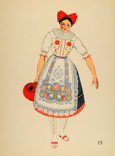 """Jeune Femme de Kalocsa, Hongrie."" This is an original 1939 eight-color lithograph of a young woman from Kalocsa, Hungary. Period Paper has obtained a wonderful set of lithographs of national costumes"