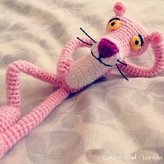 I made this Pink Panther amigurumi for me, because Pink Panther was one of my favourite cartoons when I was a kids, and I still like it. Pink Panthers, Crochet Animals, Crochet Patterns, Crochet Ideas, Softies, Kids Toys, Dinosaur Stuffed Animal, Crochet Necklace, Plush