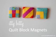 Cute! Itty Bitty quilt block magnets from Little Bluebell. Made with Essex Linen for Week 6 of the Zakka Style Sew Along.