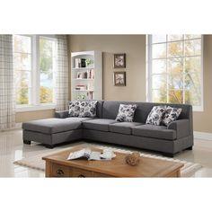 Allen Modern Fabric Reversible Sectional Sofa Set