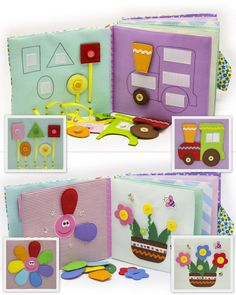 Quiet active book made of cloth is recommended for children from 2 year old. It consists of 7 sheets. On every of 12 pages there are different kinds of clasps: -Velcro -Buttons -Knobs -Shoelaces -Zipper -Pins -Yarn The hardcover of the quiet active book also contains developing elements on