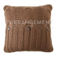 Ryder Knitted Pillow: Transforming your home into a haven of warmth, comfort, and style, this pillow is like your new best friend. Cotton sweater material in a Walnut shade.