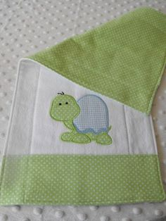 Boutique Style Turtle applique burp cloth by silverstitchesdesign, $12.00