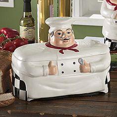 Bistro Fat Chef Kitchen Decor Cookie Jar Canister Home Fat Chef Kitchen Decor, Bistro Kitchen, Kitchen Decor Themes, New Kitchen, Kitchen Dining, Kitchen Ideas, Kitchen Rack, Kitchen Cabinets, Ceramic Bread Box