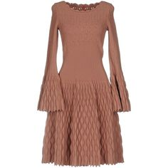 Alaïa Knee-length Dress ($3,300) ❤ liked on Polyvore featuring dresses, pastel pink, viscose dresses, long sleeve day dresses, beige long sleeve dress, longsleeve dress and pink dress