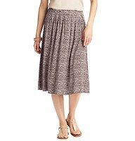 """Etched Stripe Mid Length Skirt - Our new favorite skirt silhouette gets a new twist on stripes – the etched result is laid back and unexpectedly modern. Side zip. Shirred beneath waistband. Lined. 27 1/2"""" long."""