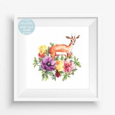 Cute gazelle animal in flowers, Floral design , Watercolor,Magic illustration for your home,digital art print,beautiful gift