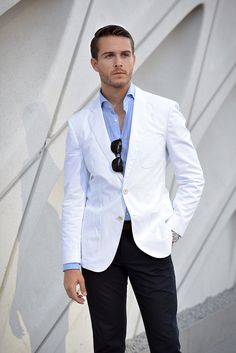White blazer + light blue checkered shirt + navy pants