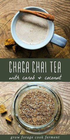 Chaga fungus is known for its health promoting properties. Make this tasty chaga chai with carob and coconut for a delicious way to enjoy it! Tea Recipes, Real Food Recipes, Fall Recipes, Yummy Food, Healthy Recipes, Chai Tea Recipe, Mushroom Tea, Smoothie Mix, Smoothies