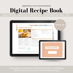 Digital Recipe Book For Goodnotes, Notability & Noteshelf Work Planner, Happy Planner, Time Management Planner, Recipe Book Templates, Cooking Cream, Competitor Analysis, Planner Inserts, Pinterest Marketing, Printable Planner