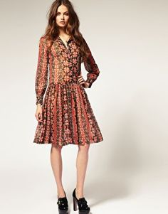 ASOS - Dropped Waist Shirt Dress in Aztec Print, shorter with brown knee high boots