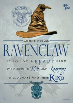 Buy Harry Potter: Sorting Hat Ravenclaw - Wall Art online and save! When the Sorting Hat is in charge, you don't have many choices. Pledge your allegiance to Ravenclaw with this Harry Potter Sorting Hat Ravenclaw Might. Harry Potter World, Fantasia Harry Potter, Mundo Harry Potter, Harry James Potter, Harry Potter Universal, Harry Potter Wall Art, Harry Potter Casas, Casas Estilo Harry Potter, Luna Lovegood