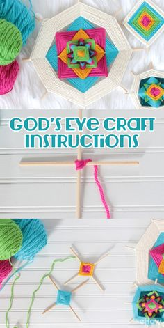 Easy yarn craft! Beautiful god's eyes, first created by Mexico's indigenous Huichol people, look complicated, but with a little practice, a few wooden dowels and some colorful yarn, you'll be sharing their positive, protective vibes with everyone who enters your home. Full tutorial here: http://www.ehow.com/how_6332001_god_s-eye-craft-instructions.html?utm_source=pinterest.com&utm_medium=referral&utm_content=freestyle&utm_campaign=fanpage