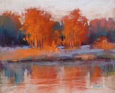 Árboles rojos en otoño contemporáneo del por KarenMargulisFineArt