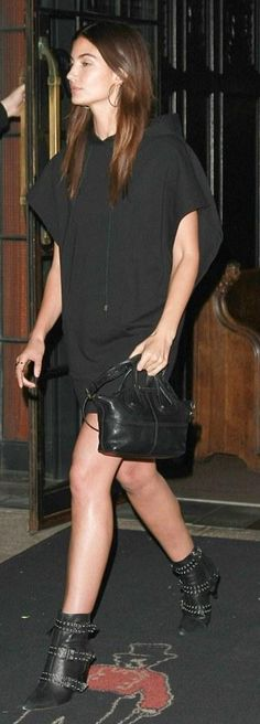 Lily Aldridge:Dress – T by Alexander Wang  Shoes – Isabel Marant  Purse – Givenchy