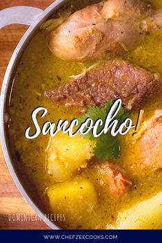 Sancocho is a truly classic Dominican Dish! This amazing soup is made with seven different types of meat, plantains, yuca, and so much more. It's a hearty soup dish that you can enjoy year round but especially during the colder months. Boricua Recipes, Comida Boricua, Mexican Food Recipes, Soup Recipes, Cooking Recipes, Healthy Recipes, Dutch Recipes, Spanish Dishes, Spanish Food