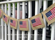 Burlap Flag Banner. Zigzag stitch each flag on a burlap rectangle. Attach each rectangle by folding the burlap over jute twine and stitch in place.