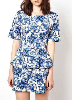 Ruffle Decorated Short Sleeve Printed T Shirt + Skirt