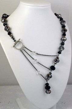 Black and Silver Crystal Adrienne Adelle Signature Necklace on Etsy: