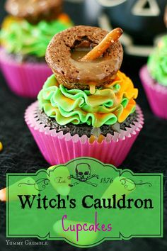 Chocolate Witch's Cauldron Cupcakes - Wickedly delicious chocolate cupcakes frosted with vibrant green and orange vanilla buttercream frosting and topped with a miniature brownie cauldron bubbling over with salted buttery caramel.  These Chocolate Witch's Cauldron Cupcakes are the perfect ghoulish treat for little goblins and witches this Halloween! www.yummycrumble.com