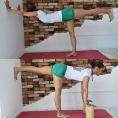 Ways to incorporate props in your yoga practice. Using a cork block and wall allows you to fix alignment and get deeper in warrior 3 or airplane pose without falling. (Afflink)