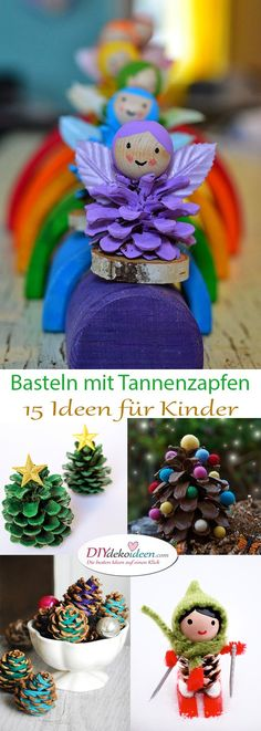 Making pine cones - the 15 most beautiful ideas for children, DIY, tinker with . - Kindergarten - Making pine cones - the 15 most beautiful ideas for children, DIY, tinker with . Diy Gifts For Kids, Crafts For Girls, Children Crafts, Kids Diy, Christmas Crafts, Christmas Decorations, Christmas Ornaments, Kids Christmas, Winter Drawings