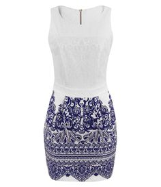 White dress blue print