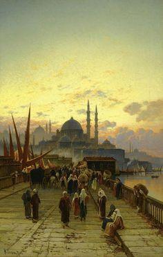 """The Galata Bridge Constantinople"", Painting by Hermann Corrodi, Italian, 1844 - 1905 Constantinople : Now Istanbul, Turkey Art Arabe, Arabian Art, Art Asiatique, Islamic Paintings, Academic Art, Turkish Art, Moroccan Art, Art Academy, A4 Poster"
