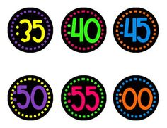 Neon Clock Numbers on Black - Dashes
